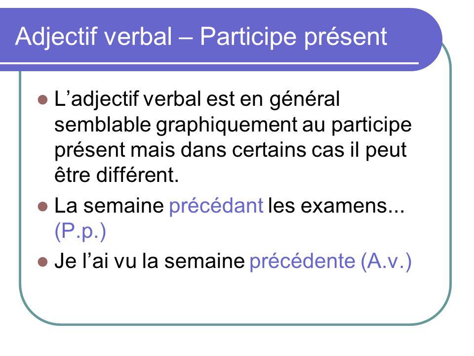 Adjectif verbal – Participe présent