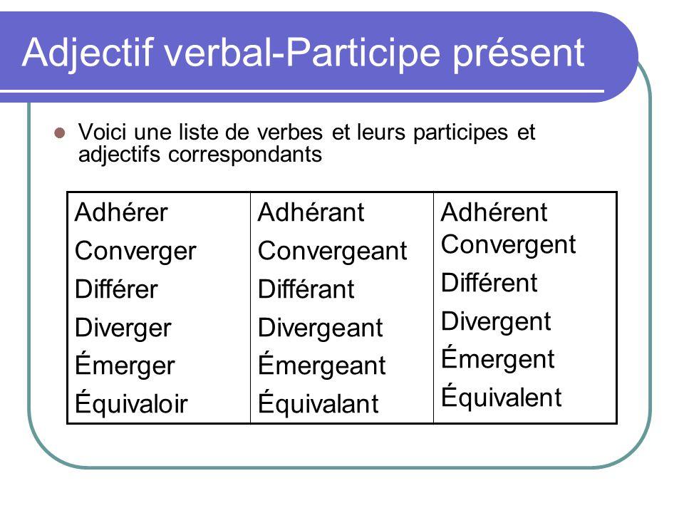 Adjectif verbal-Participe présent