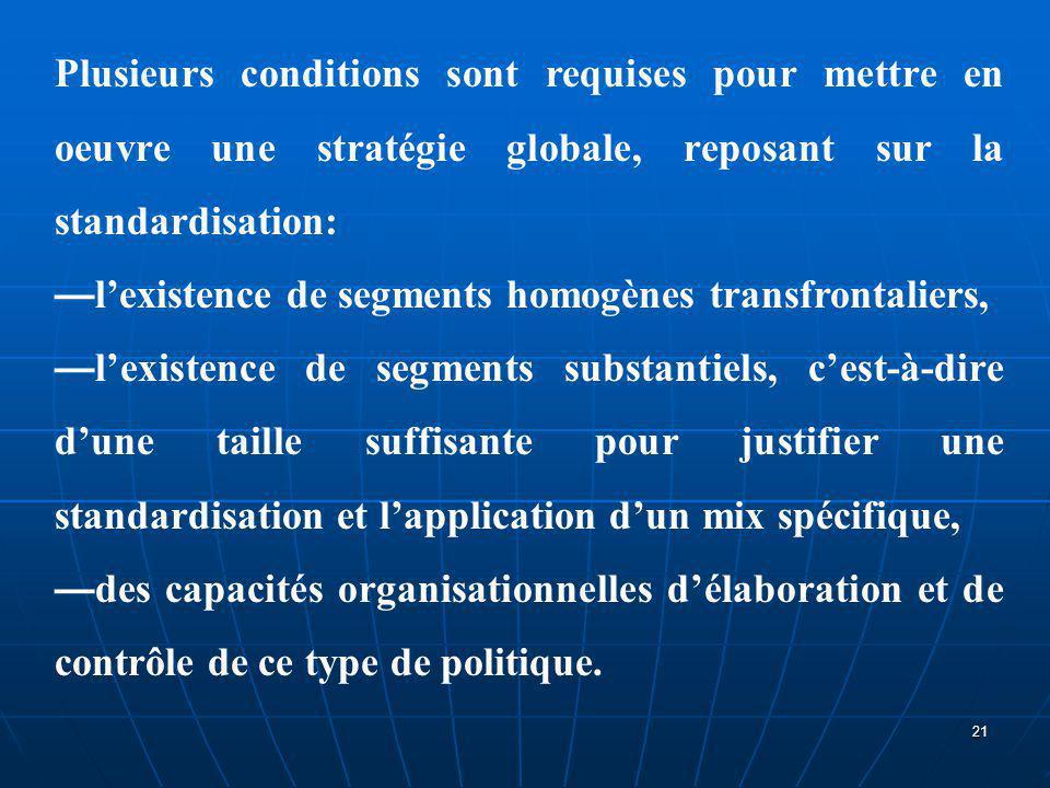Plusieurs conditions sont requises pour mettre en oeuvre une stratégie globale, reposant sur la standardisation: