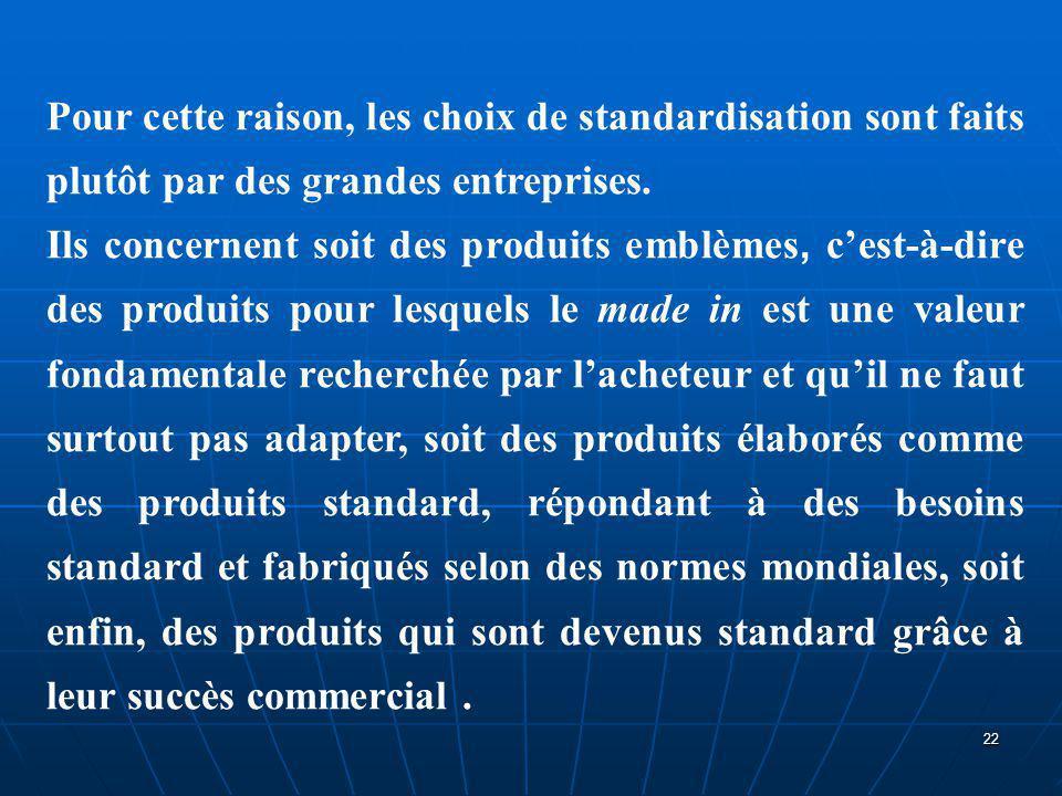 Pour cette raison, les choix de standardisation sont faits plutôt par des grandes entreprises.