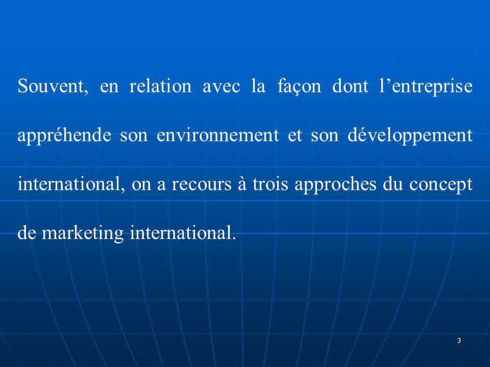 Souvent, en relation avec la façon dont l'entreprise appréhende son environnement et son développement international, on a recours à trois approches du concept de marketing international.
