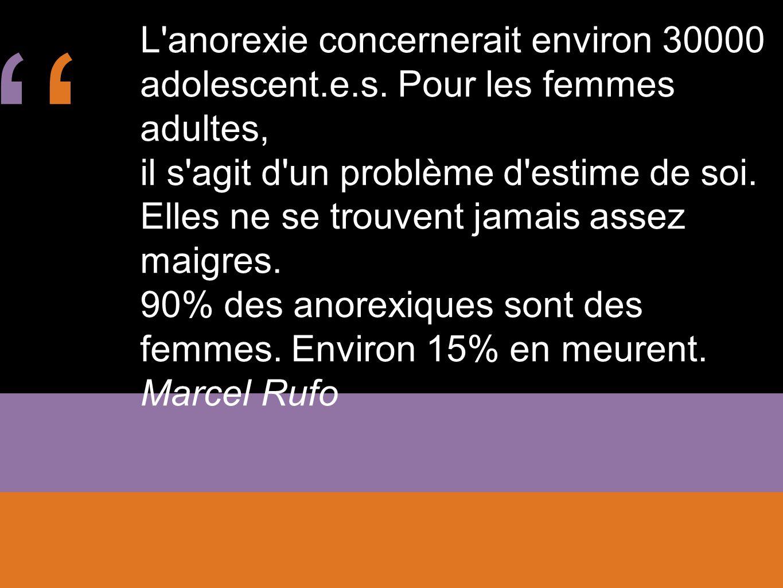 '' L anorexie concernerait environ 30000 adolescent.e.s. Pour les femmes adultes,