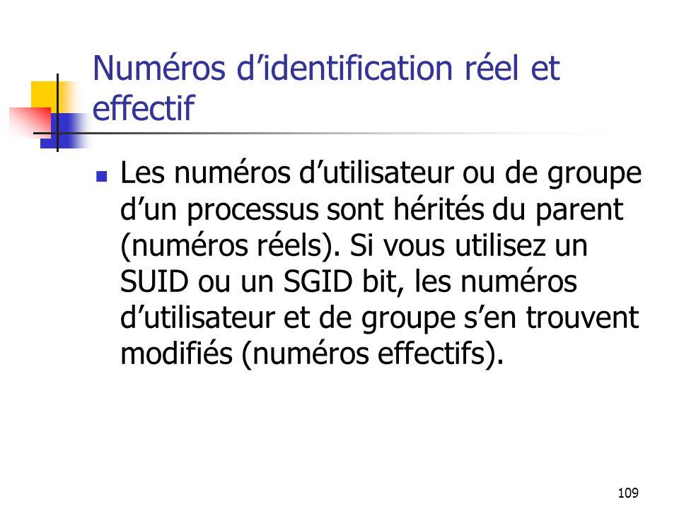 Numéros d'identification réel et effectif
