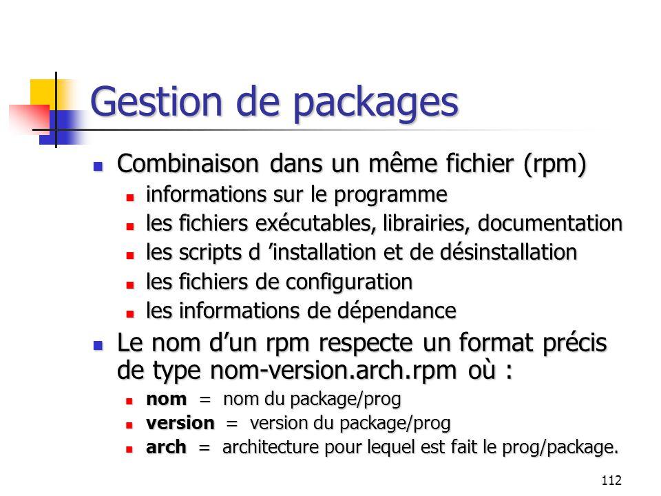 Gestion de packages Combinaison dans un même fichier (rpm)
