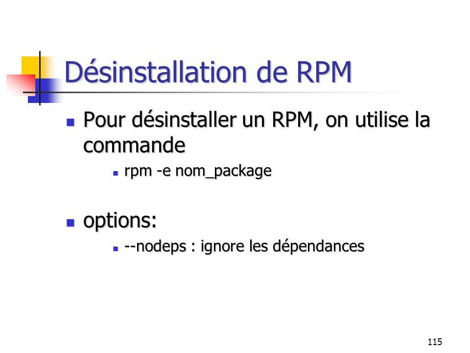 Désinstallation de RPM