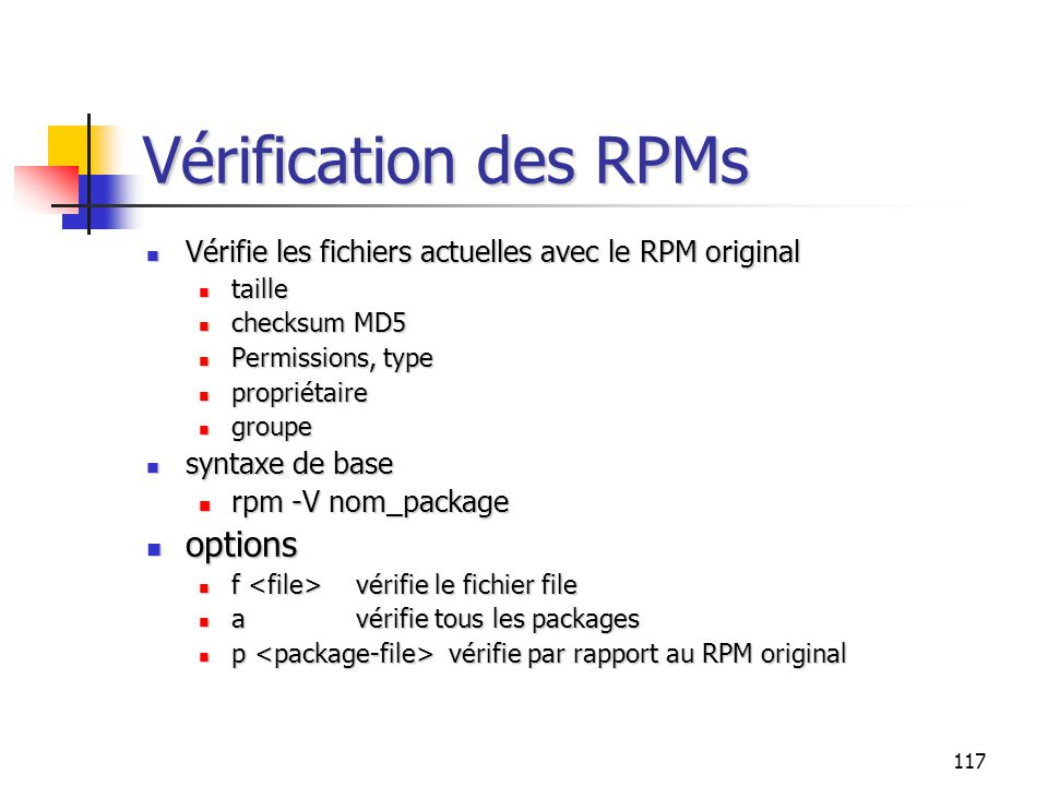 Vérification des RPMs options