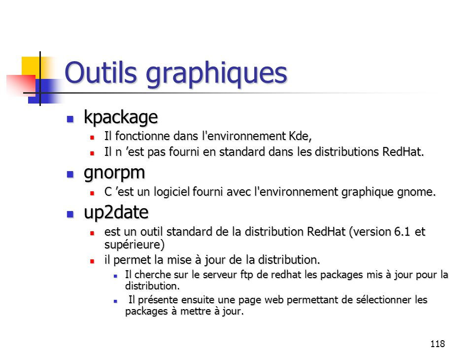 Outils graphiques kpackage gnorpm up2date