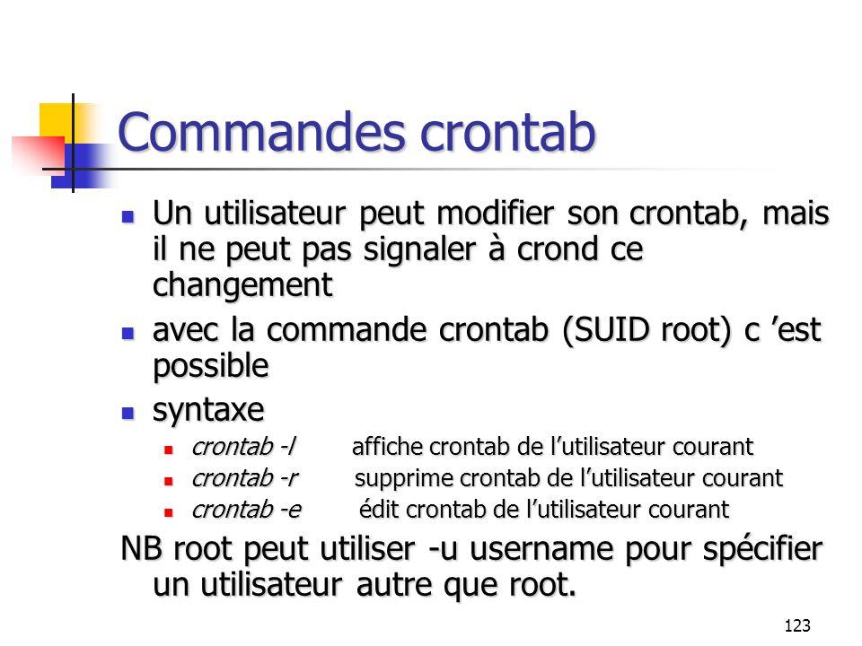 Commandes crontab Un utilisateur peut modifier son crontab, mais il ne peut pas signaler à crond ce changement.