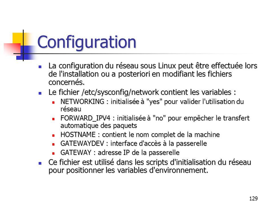 Configuration La configuration du réseau sous Linux peut être effectuée lors de l installation ou a posteriori en modifiant les fichiers concernés.