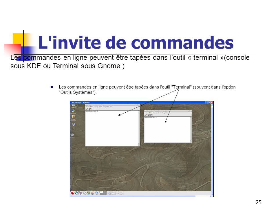 L invite de commandes Les commandes en ligne peuvent être tapées dans l'outil « terminal »(console sous KDE ou Terminal sous Gnome )