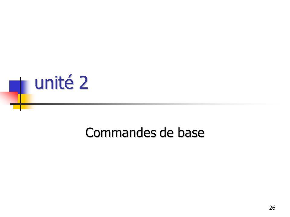 unité 2 Commandes de base