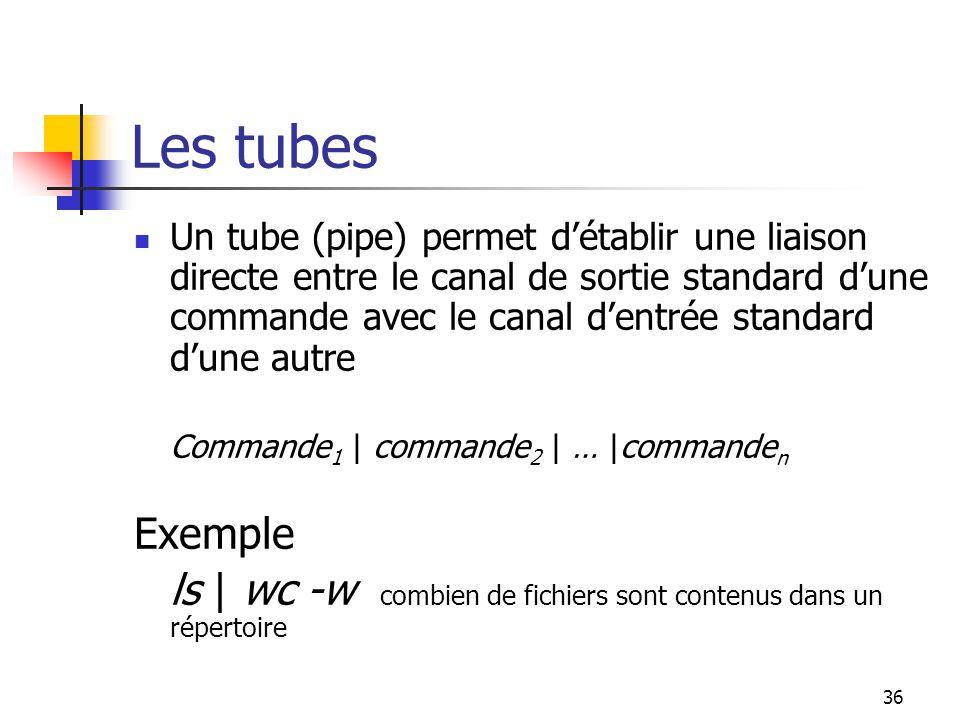 Les tubes Commande1 | commande2 | … |commanden Exemple