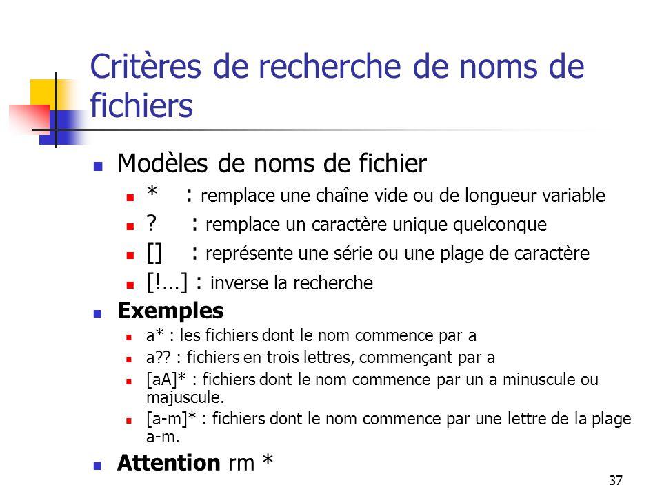 Critères de recherche de noms de fichiers