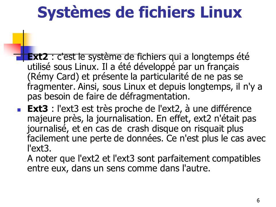 Systèmes de fichiers Linux