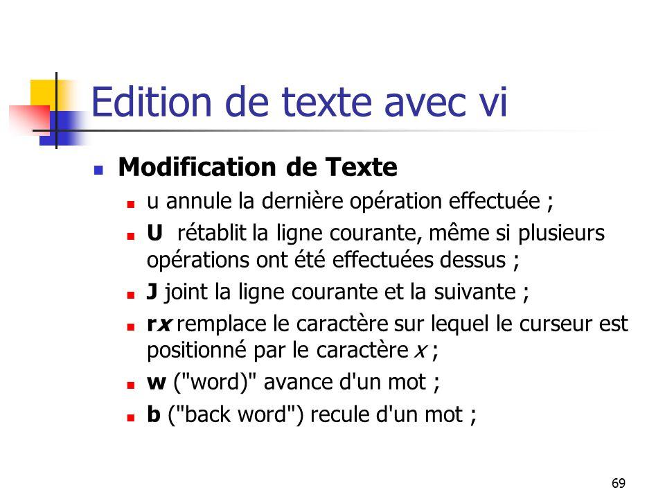 Edition de texte avec vi