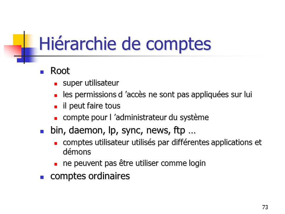 Hiérarchie de comptes Root bin, daemon, lp, sync, news, ftp …