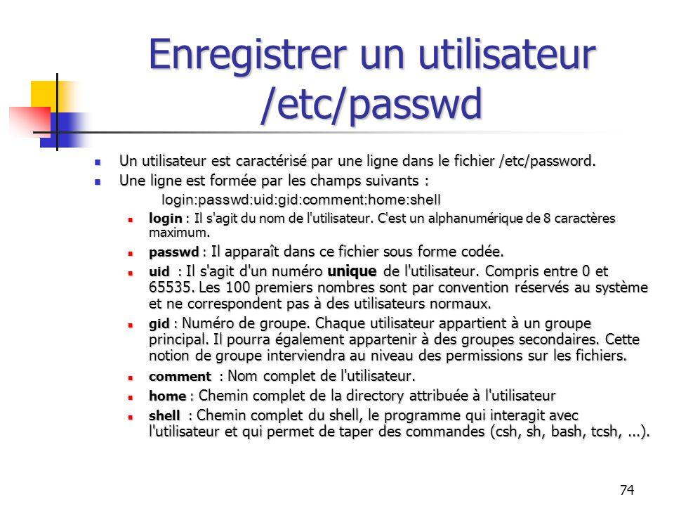 Enregistrer un utilisateur /etc/passwd