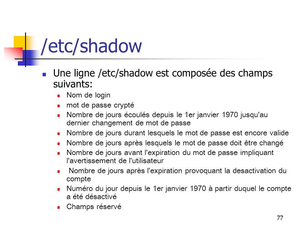 /etc/shadow Une ligne /etc/shadow est composée des champs suivants:
