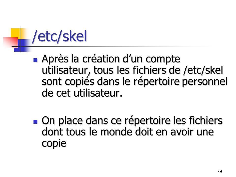 /etc/skel Après la création d'un compte utilisateur, tous les fichiers de /etc/skel sont copiés dans le répertoire personnel de cet utilisateur.
