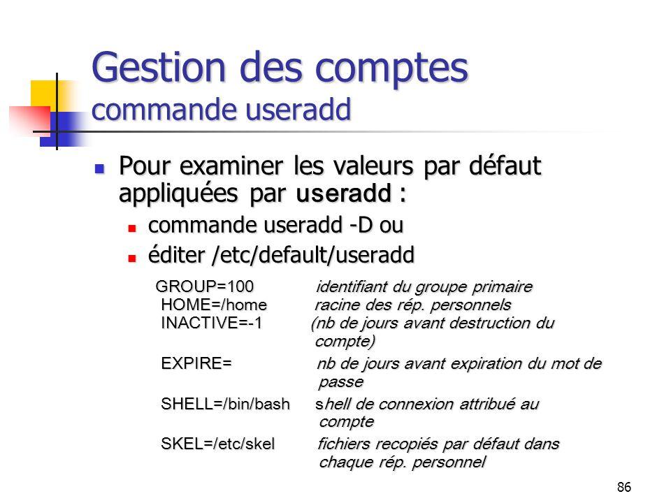 Gestion des comptes commande useradd