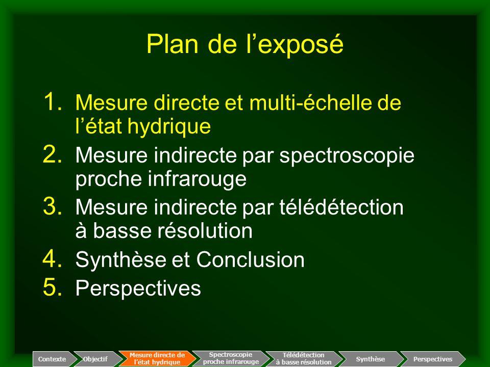 Plan de l'exposé Mesure directe et multi-échelle de l'état hydrique