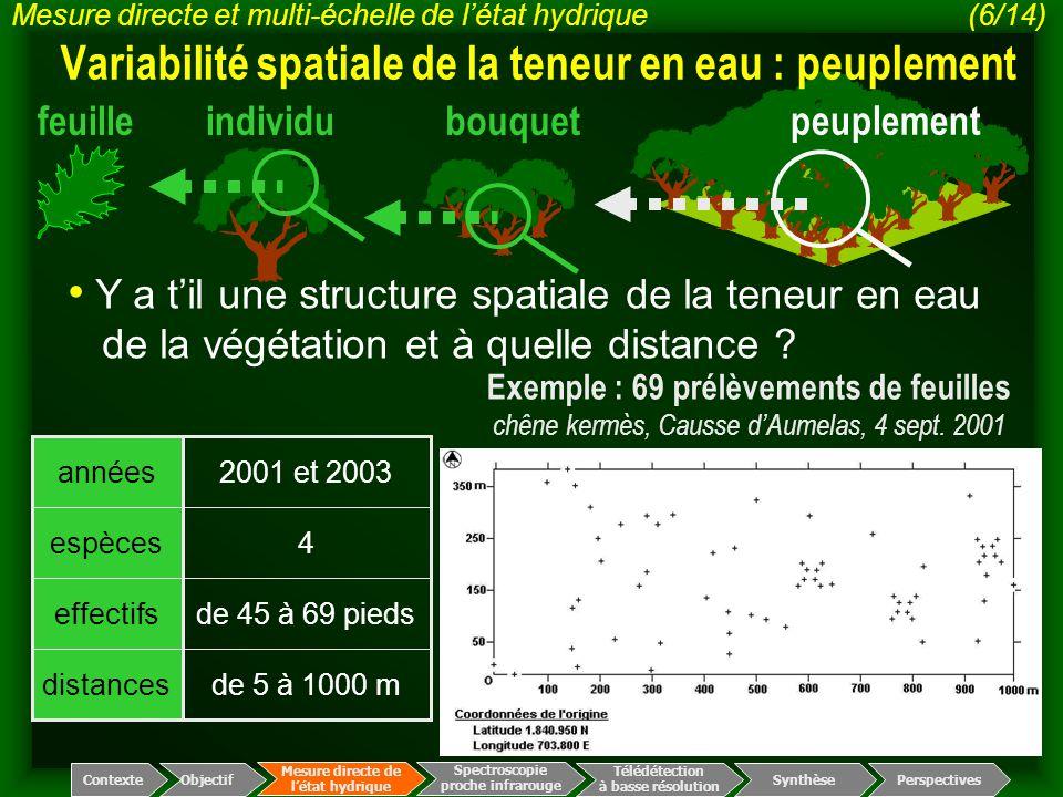 Variabilité spatiale de la teneur en eau : peuplement