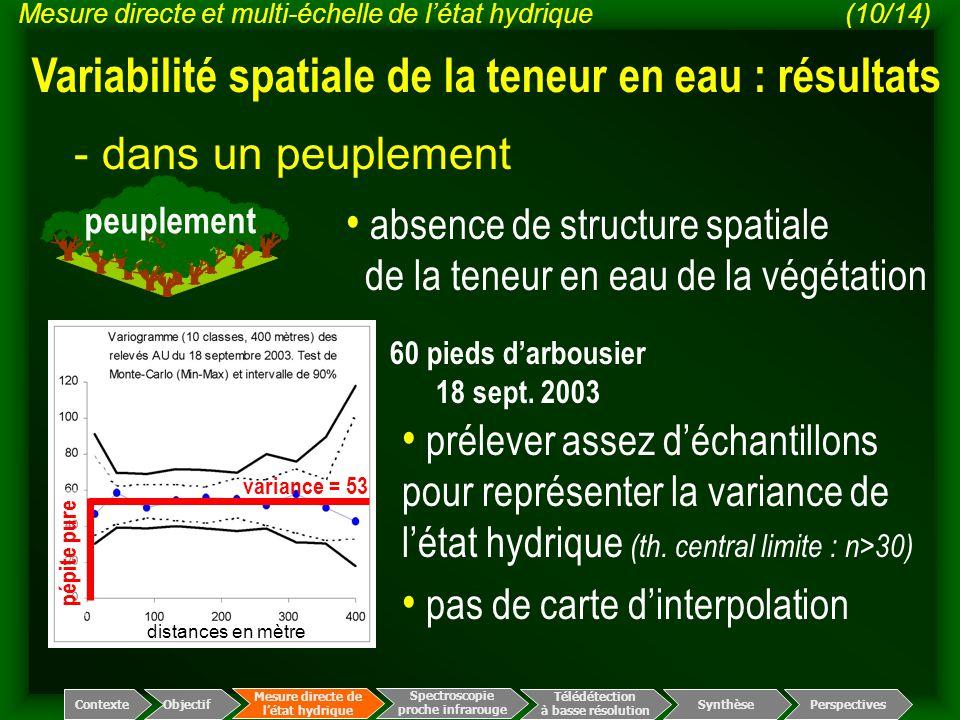 Variabilité spatiale de la teneur en eau : résultats