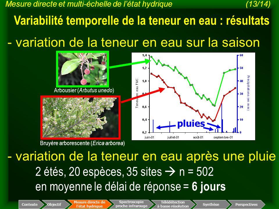 Variabilité temporelle de la teneur en eau : résultats