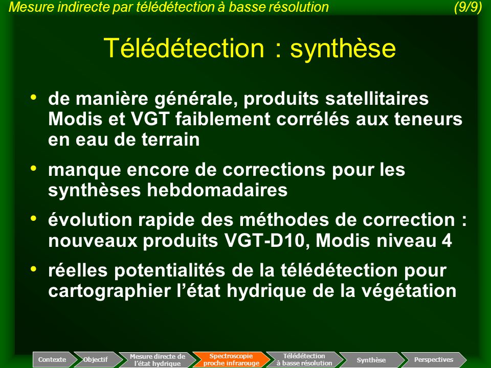 Télédétection : synthèse