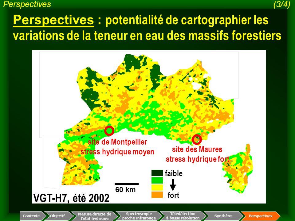 Perspectives (3/4) Perspectives : potentialité de cartographier les variations de la teneur en eau des massifs forestiers.