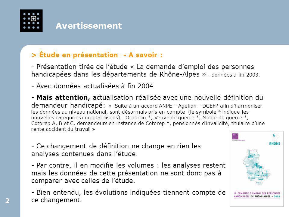 Avertissement > Étude en présentation - A savoir :