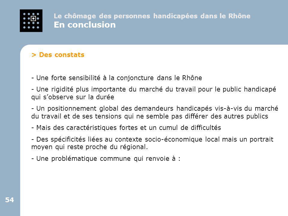 En conclusion Le chômage des personnes handicapées dans le Rhône