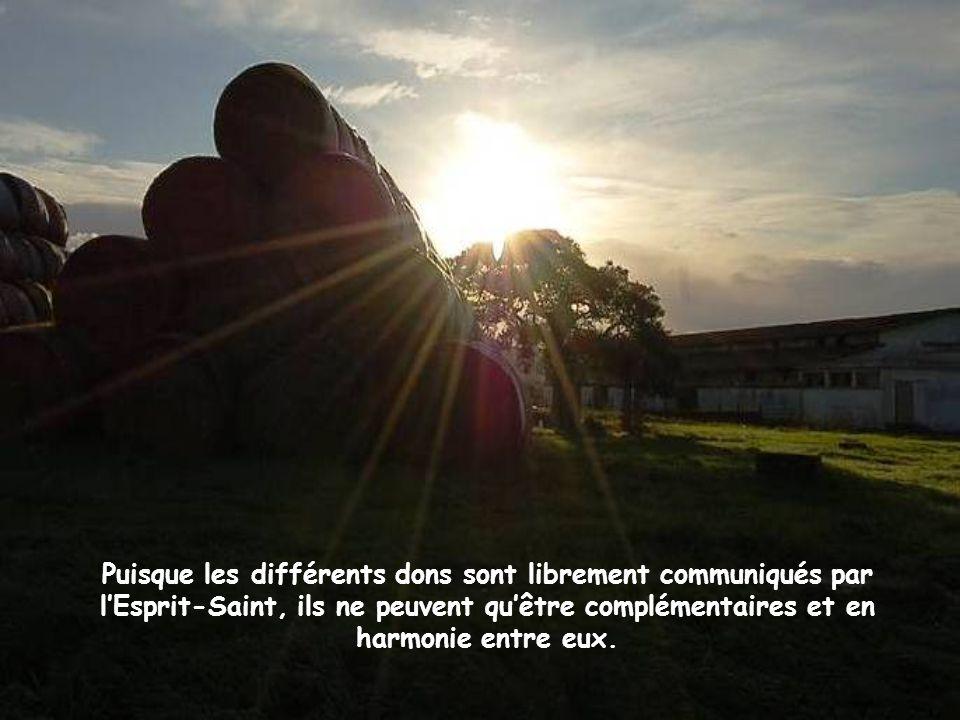 Puisque les différents dons sont librement communiqués par l'Esprit-Saint, ils ne peuvent qu'être complémentaires et en harmonie entre eux.