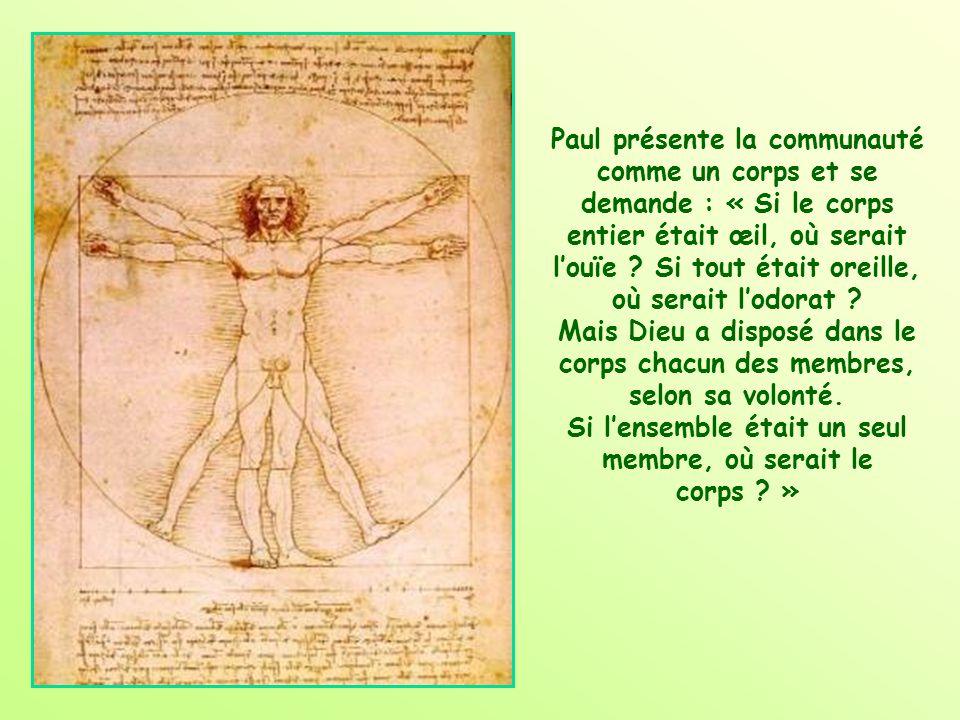 Paul présente la communauté comme un corps et se demande : « Si le corps entier était œil, où serait l'ouïe .