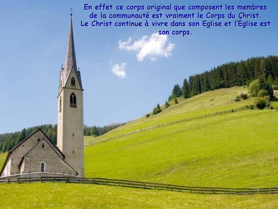 En effet ce corps original que composent les membres de la communauté est vraiment le Corps du Christ.