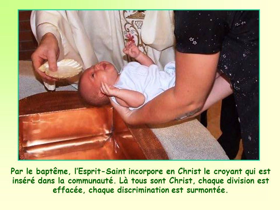 Par le baptême, l'Esprit-Saint incorpore en Christ le croyant qui est inséré dans la communauté.
