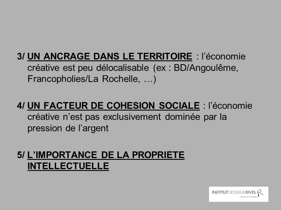 3/ UN ANCRAGE DANS LE TERRITOIRE : l'économie créative est peu délocalisable (ex : BD/Angoulême, Francopholies/La Rochelle, …)