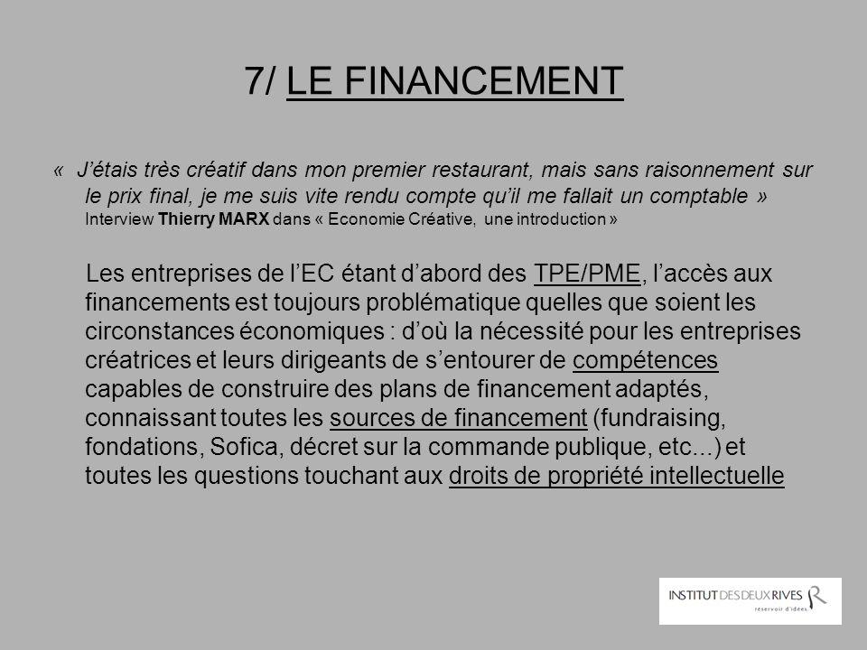 7/ LE FINANCEMENT