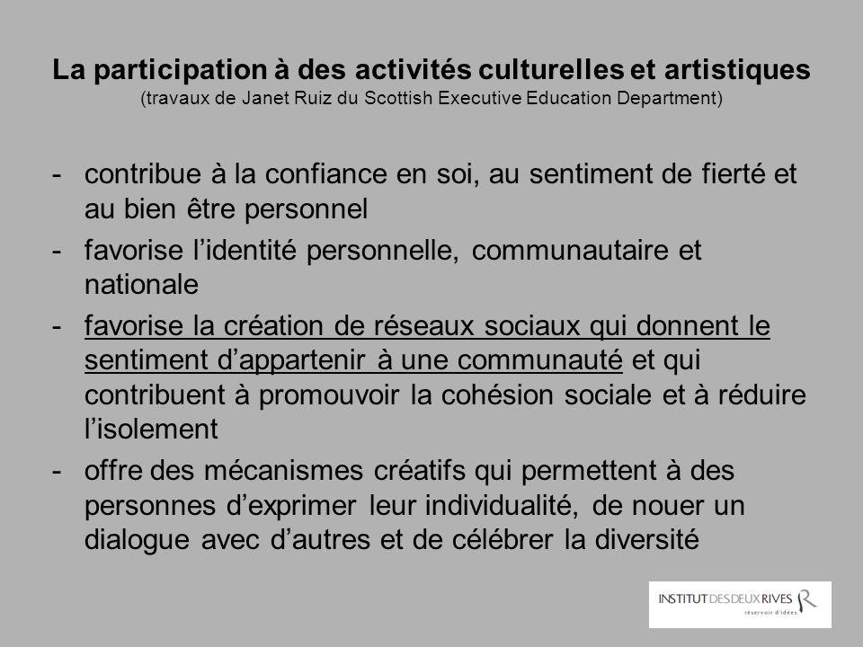 La participation à des activités culturelles et artistiques (travaux de Janet Ruiz du Scottish Executive Education Department)