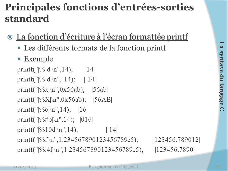 Principales fonctions d'entrées-sorties standard