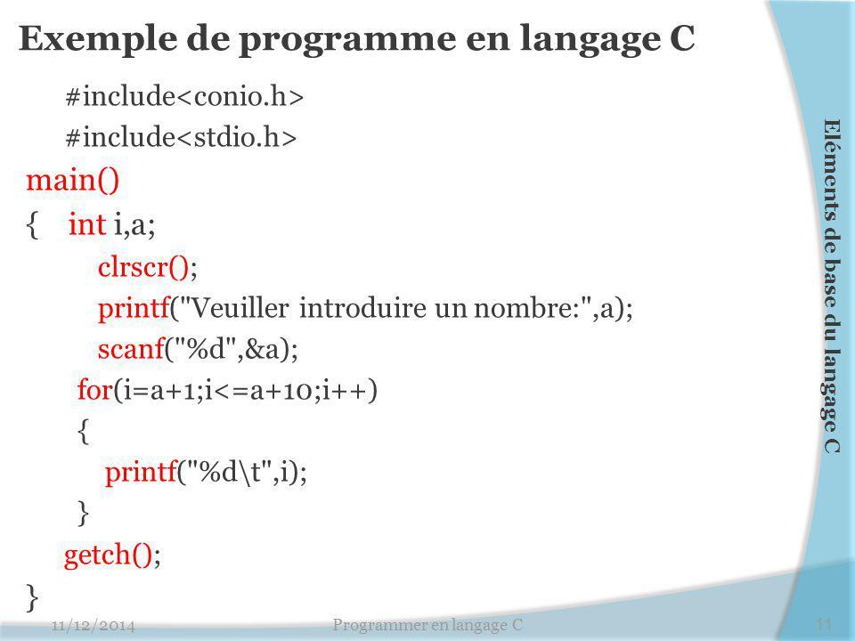 Exemple de programme en langage C