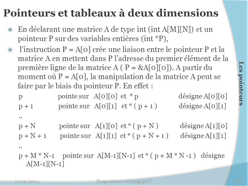 Pointeurs et tableaux à deux dimensions