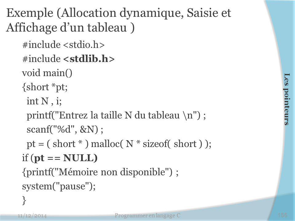 Exemple (Allocation dynamique, Saisie et Affichage d'un tableau )