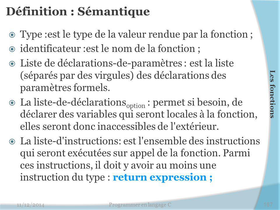 Définition : Sémantique