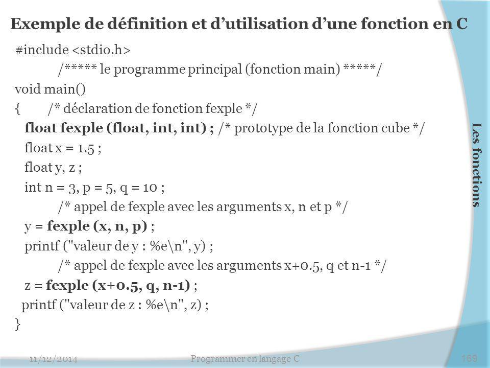 Exemple de définition et d'utilisation d'une fonction en C
