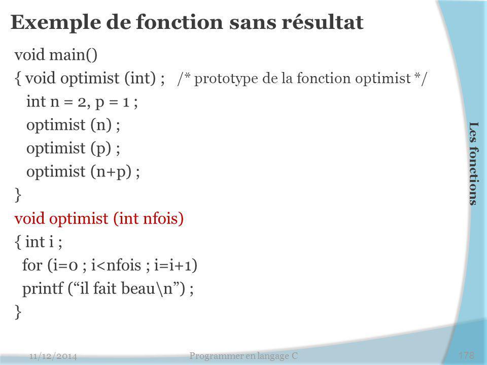 Exemple de fonction sans résultat