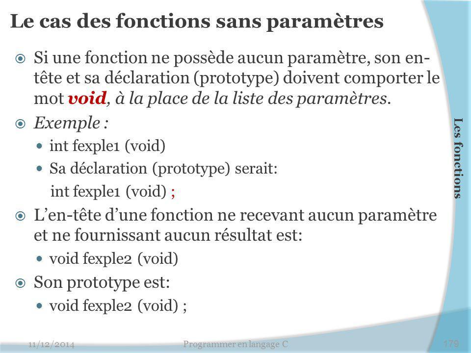 Le cas des fonctions sans paramètres