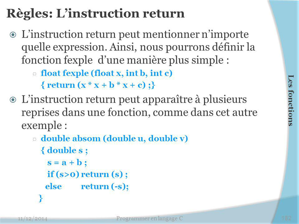 Règles: L'instruction return