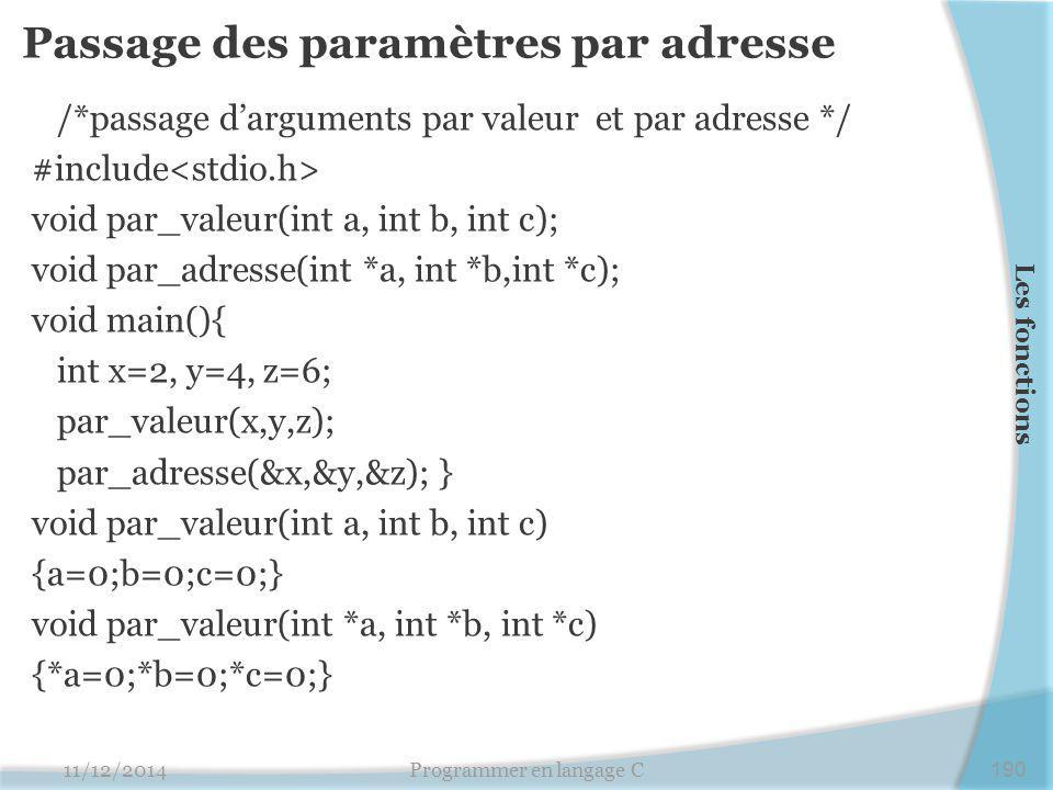 Passage des paramètres par adresse