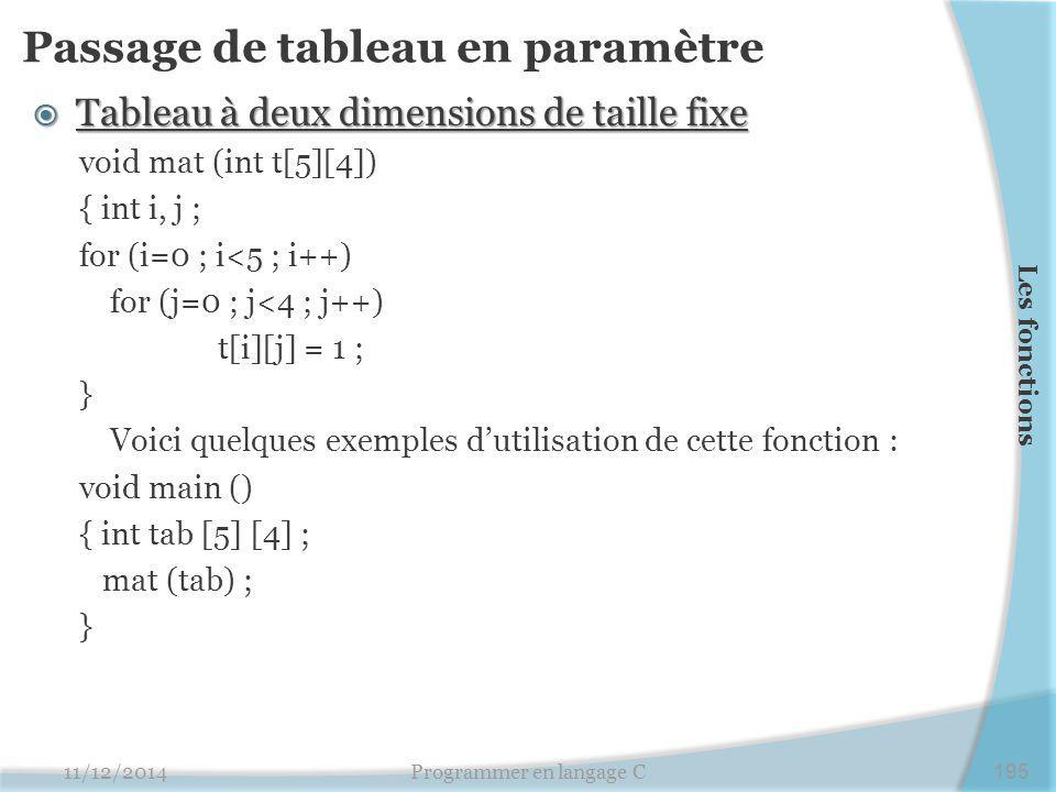 Passage de tableau en paramètre